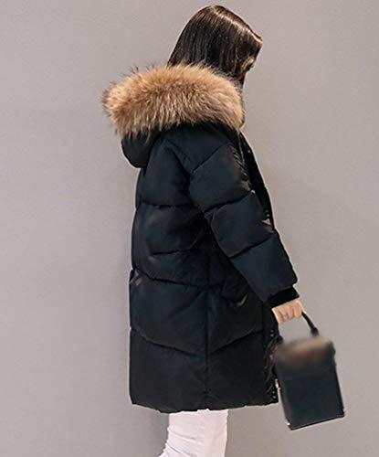 Acolchado Invierno Fashion Parka Piel Schwarz Casuales Espesar De Pluma Manga Mujer Largos Capucha Acolchada Huixin Parka Abrigo Largo Modernas Día con Caliente Outdoor Chaqueta RF5Upq6w