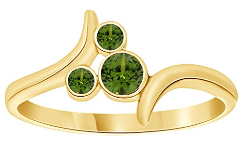 AFFY Simulated Peridot Mickey Mouse Bypass Ring in 14k Yellow Gold Over Sterling Silver Ring Size : 6