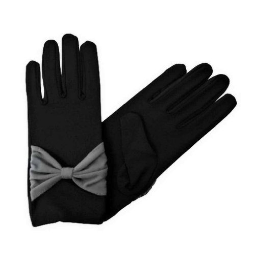 Black Wrist Length Gloves For Women With Bow (Bow Accent Gloves)