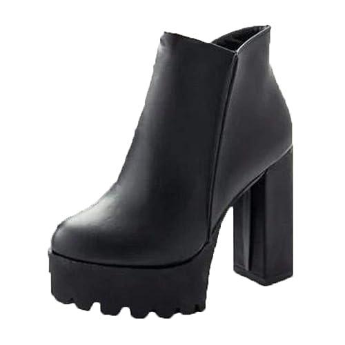 Martin de Plataforma de Mujer Botas Tacones Ultra Femenino Redondo Grueso tacón Zapatos Botines: Amazon.es: Zapatos y complementos