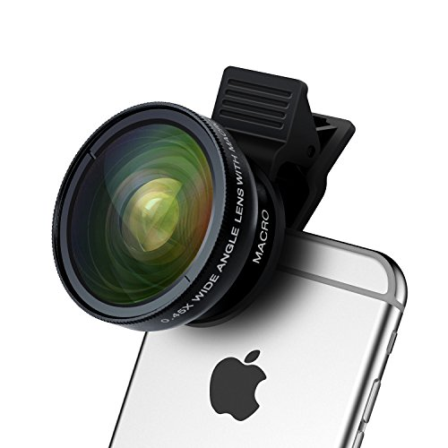 Cell Phone Camera Lens - TURATA 2 in 1 Professional HD Camera Lens Kit 0.45X Super Wide Angle & 12.5X Macro Lens for iPhone7 6s 6s plus 6 plus 5s & Most Smartphone, Tablet(Black) - Cell Phone Accessories