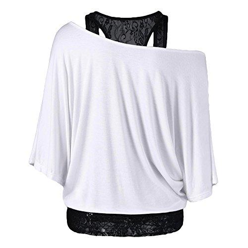 Maglietta Donna maniche lunghe felpa + gilè in pizzo Donne 2 pezzi sexy Off Shoulder camicetta larghi Top slim gilè camicia oversize Nero Bianco Rosso Blu Grigio chiaro S M L XL 2XL 3XL 4XL 5XL