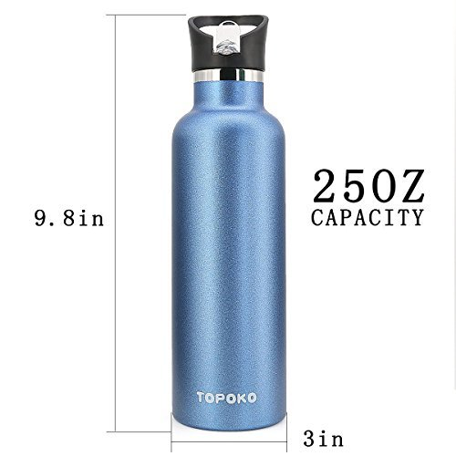 TOPOKO 25 OZ Double Wall Water Bottle Straw Lid with Handle, Vacuum Insulated Stainless Steel Bottle, Sweat Proof, Leak Proof Thermos Standard Mouth, Vacuum Seal Cap Mug (Straw Lid Blue) by TOPOKO (Image #4)