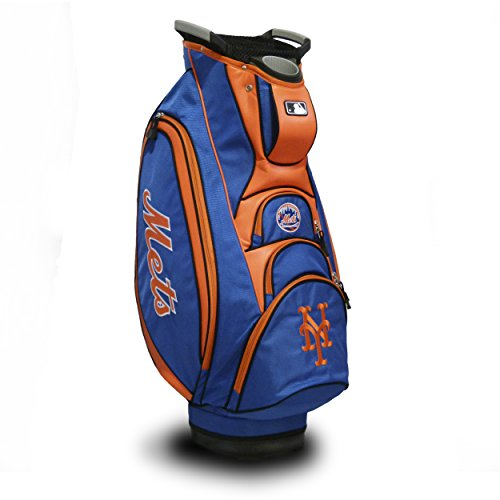 (Team Golf MLB New York Mets Victory Golf Cart Bag, 10-way Top with Integrated Dual Handle & External Putter Well, Cooler Pocket, Padded Strap, Umbrella Holder & Removable Rain)