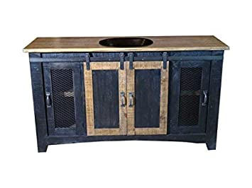 70 Inch Distressed White Farmhouse Sliding Barn Door Single Sink Bathroom Vanity Fully Assembled With Copper Drop In Sink Installed 70 Inch White Cjp Org In