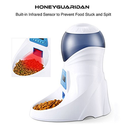 HoneyGuaridan A25 Automatic Pet Feeder Food Dispenser with Removable Food Container, Portion Control,Voice Recording and Timer Programmable, 6-Meal for Dogs (Medium and Small) and Cats & Small Animal by HoneyGuaridan (Image #3)
