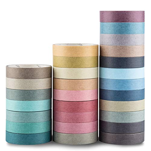 Yubbaex Natural Color Washi Tape Set 28 Rolls Decorative Tapes for DIY Crafts, Bullet Journals, Planners, Scrapbooking, Wrapping