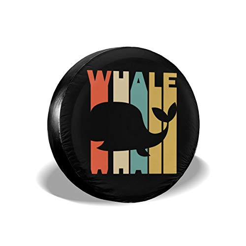 Ybdr94K@ Spare Tire Cover Retro Style Whale Silhouette Sun Protector Universal Wheel Covers for Trailers, RV, SUV, Trucks and Many Vehicle, 14