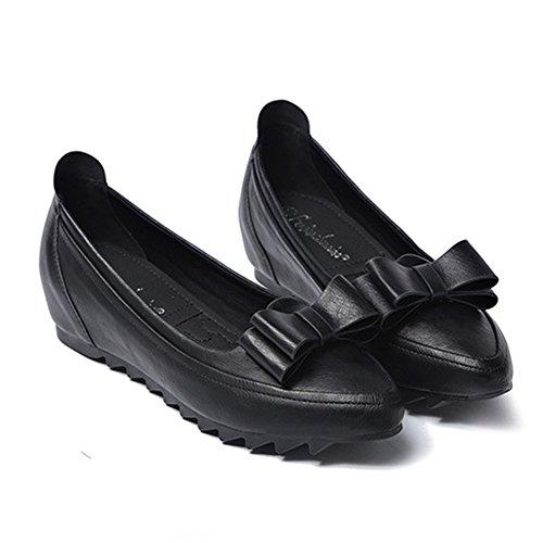 Noir JRenok Pure en Papillon Compensé Femme Couleur au Talon Chaussure Loafers Printemps avec Élégante Cuir Ballerine Mocassin Nœud SqfSwFT