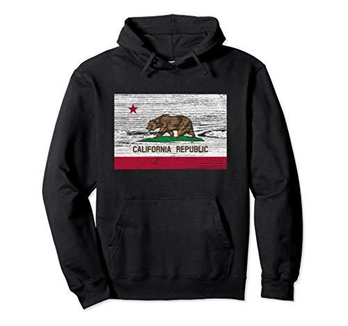 California State Flag Hoodie Sweatshirt Vintage Wood Bear (Republic Sweatshirts Flag)