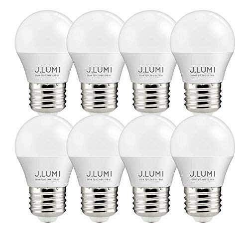 (J.LUMI BPC4505 LED Bulbs 5W E26, 40W Appliance Bulb, A15 LED Bulb, Compact 45mm Diameter, 3000K Soft White, Refrigerator Light Bulb, Appliance Light Bulb, Ceiling Fan Bulbs, NOT DIMMABLE (Pack of 8))