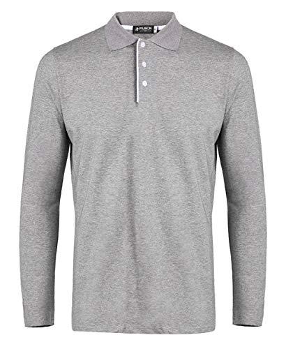 Musen Men Long Sleeve Polo Shirts Casual Classic Regular Fit Plain T-Shirts Grey ()