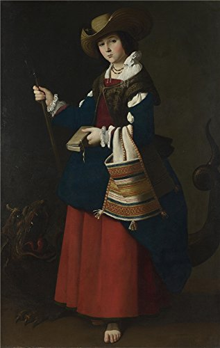 ['Francisco De Zurbarin Saint Margaret Of Antioch ' Oil Painting, 24 X 38 Inch / 61 X 96 Cm ,printed On High Quality Polyster Canvas ,this Replica Art DecorativePrints On Canvas Is Perfectly Suitalbe For Kids Room Decor And Home Artwork And] (White Trash Costume Ideas Pictures)