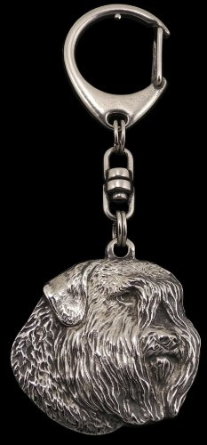 Bouvier, Flanders Cattle Dog, Silver Hallmark 925, Silver Dog Keyring, Keychain, Limited Edition, Artdog by Art Dog Ltd.