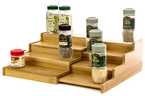 Expendable Spice Rack, Spice Shelf, Spice Storage Organizer 4 Tier Made of Organice Bamboo by Intriom Bamboo Collection 4 Tier Step