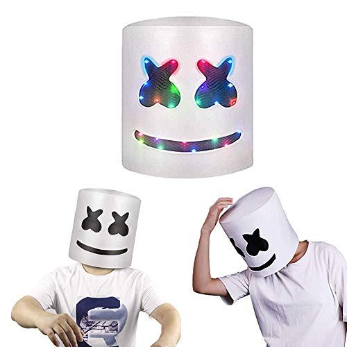 Halloween DJ Marshmello Mask Helmet,Music Festival Helmet?DJ Mask Party Mask Music Festival Marshmallow Head Mask?DJs Wear Masks Party Props Helmet Hard Latex Solid Full Head Masks ()