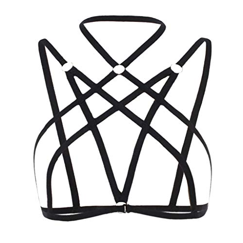 Other-sey Alluring Women Underwear Explosion Summer Alluring Bra Shirt, Women Cage Bra with Choker Elastic Strappy Hollow Out Bralette Bustier Tops Black -