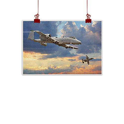 Decorative Music Urban Graffiti Art Print Airplane,Peacekeepers Mission Jet Up International Military Force Combat Flight Picture, Blue Silver 24