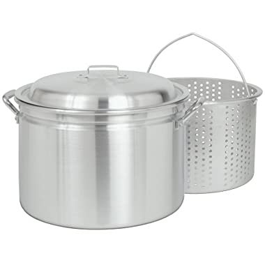 Bayou Classic 4020, 20-Qt. Stockpot with Boiling Basket and Vented Lid, aluminum