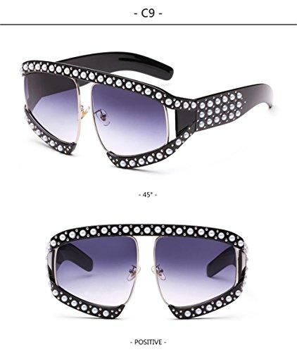 de lujo señoras Protección estilo de enormes gafas Gafas marca qbling Solar Moda de de sol de UV gradiente C9 tonos sol unas de Catorce mujeres technolog R1xqOf6