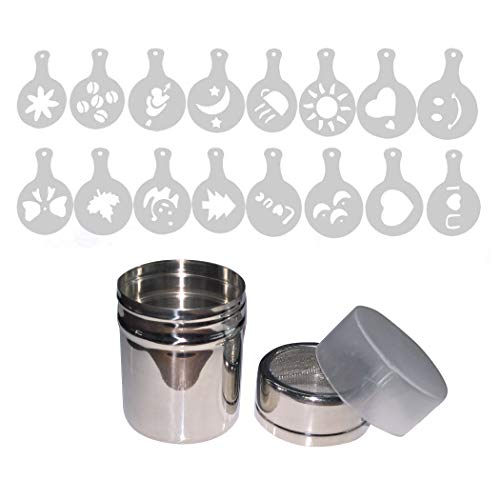 Aoyoho Stainless Steel Powder Shaker Icing Sugar Powder Cocoa Flour Coffee Sifter Cooking Tools Lid Chocolate Shaker Cocoa 16 Pieces Coffee Art Stencils