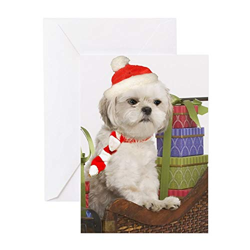 CafePress White Shih Tzu Xmas Cards Greeting Card, Note Card, Birthday Card, Blank Inside Glossy