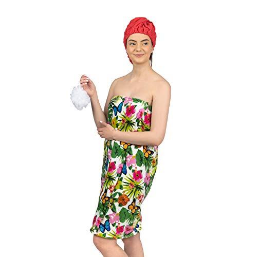 Star Bath Set - Blue Star Clothing Women's 3 Piece Tropical Bath Body Plush Shower Towel Wrap Spa Set | Bath Body Towel Wrap with Adjustable Fastener, Hair Towel Twist, Loofah/Bath Body Sponge