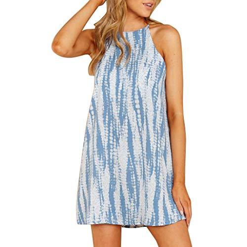 Loosebee Womens Summer Beach Halter Neck Dress Ladies Holiday Floral Sun Tank Dresses Blue