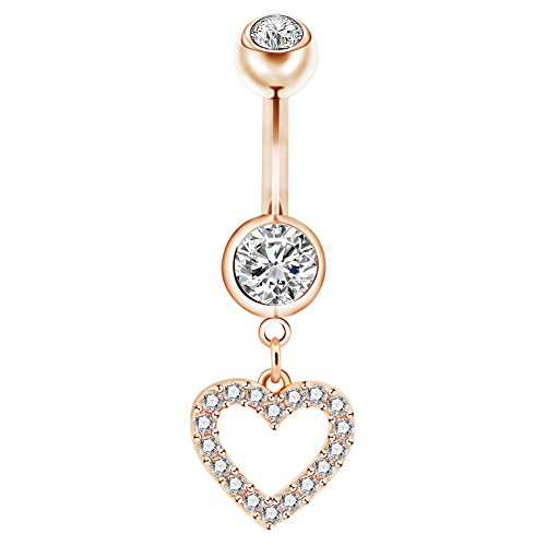 Gold Belly Dangle Heart (Jewseen 14g 316L Surgical Steel Heart Love Belly Button Rings CZ Rose Gold 14kt Plated Dangle Navel Rings)