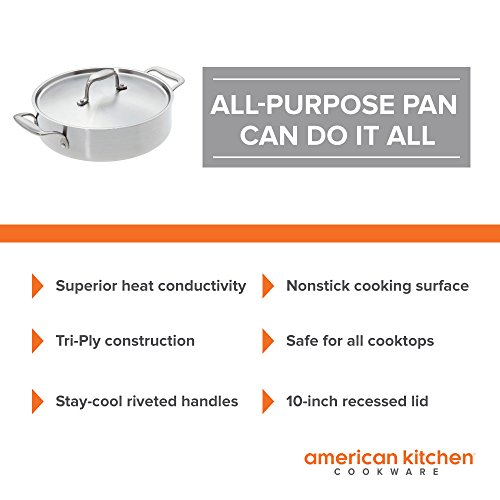 Stainless Steel Pan - American Kitchen 10-Inch Premium Nonstick Casserole Pan - All Purpose- PFOA-Free Nonstick Surface - Safe for All Cooktops - Recessed Stainless Steel Lid