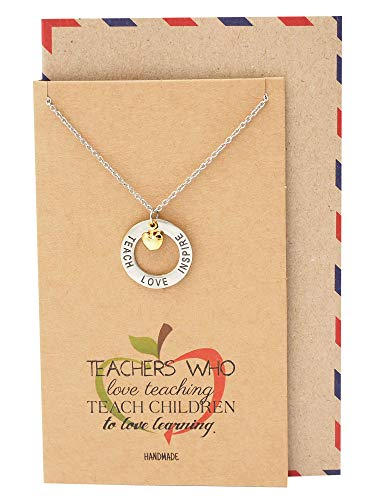 - Quan Jewelry Teacher Necklace, Two-Tone Apple Jewelry, Teachers Appreciation Gifts Motivational Charm, Teach Love Inspire Necklace and Thank You Card