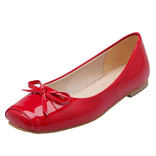 Charm Red On Shine Womens Show Shoes Bows Slip Flats S6zqwEw