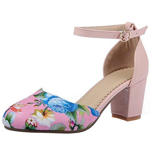 Sandalias Moda Zaopatos Tacon Floral Tobillo de TAOFFEN Hebilla Boda Rosado Ancho Correa Mujer 5qxwtBP