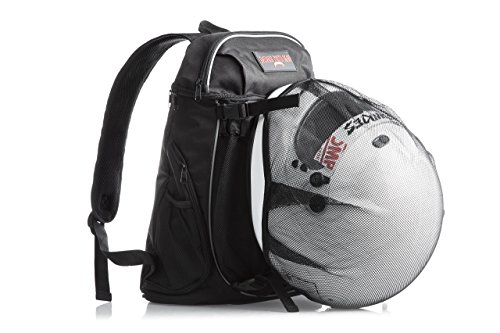 Motorcycle Travel Backpack with Helmet Holder: Water Resistant Cycling or Tactical Molle Biking Pack for Dirt, Road, or Sport Bikes; Durable Lightweight TSA Compliant Carry On Day Bag for Men (Road Vented Full Face Helmets)