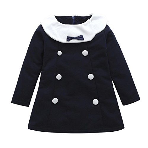 Xiting Kids Girls O Neck Flare Long Sleeve Cotton Fashion Button Vintage Dresses (120(3T))