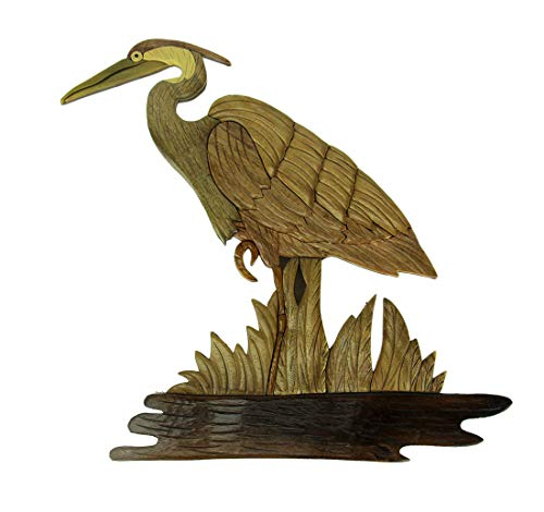 - Hand Carved Wood Art Great Blue Heron Wall Hanging