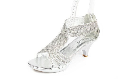 (Delicacy Womens Strappy Rhinestone Dress Sandal Low Heel Shoes Heeled Sandals, 37Silver, 5.5)