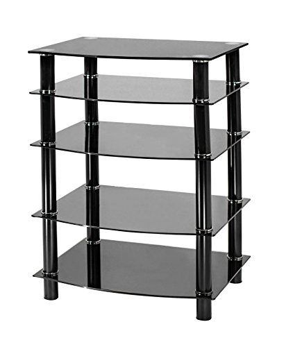 Naomi Home 5 Tier Glass Media Tower Black/Black
