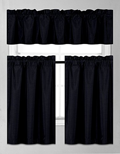 Elegant Home Collection 3 Piece Solid Color Faux Silk Blackout Kitchen Window Curtain Set with Tiers and Valance Solid Color Lined Thermal Blackout Drape Window Treatment Set (Black)