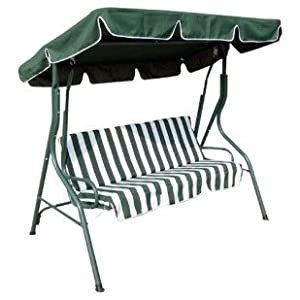 3 SEATER GARDEN PATIO SWING SEAT CHAIR HAMMOCK   GREEN U0026 WHITE STRIPED