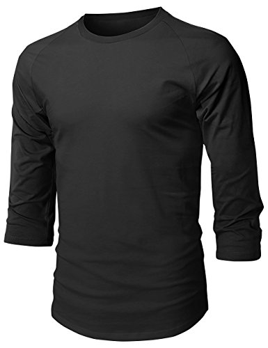 Hat and Beyond Mens Baseball Raglan 3/4 Sleeve T Shirts 1HCA0008 (Small, 1hc08_Black/Black)