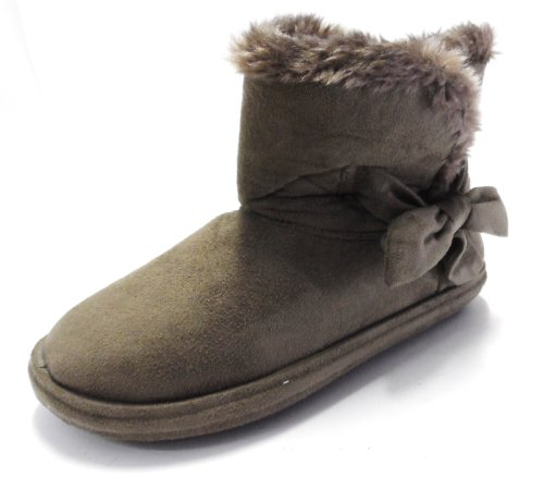 FUR LINED WOMENS SLIPPERS BOOTS FAUX SUEDE SOFT WINTER LADIES BOOTIES SIZES 3 -8 Brown jl99YjWmY