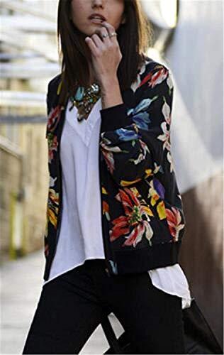 Fiore Corto Nero Eleganti Fashion Giubbino Autunno Coat Con Modello Tempo Pilot Libero Primaverile Abbigliamento Vintage Giacca Maniche Cerniera Jacket Donna Outwear Lunghe 1q5pwg8tx