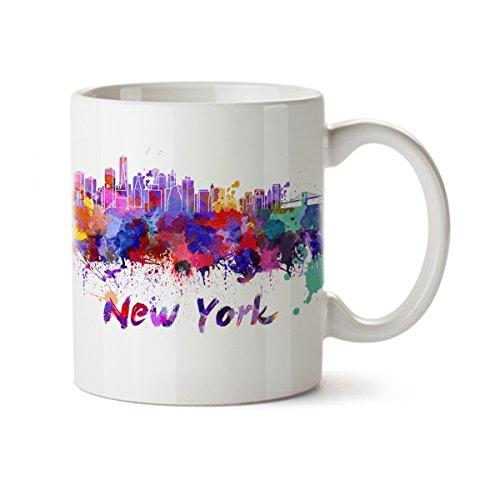 Souvenir Mug Cup - New York City Silhouette View Colorful Watercolor Design Coffee Mug - Ceramic - 11 oz - New York Souvenir Cup Mom, Dad, Boyfriend, Girlfriend