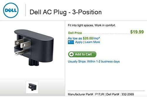 Dell AC Plug - 2-Position ( This Dell AC plug fits 65 W or greater Dell Slim Power Adapters, Not for Dell 24W or 45W)
