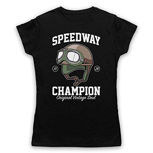 Speedway Champion Original Vintage Soul Camiseta para Mujer Negro