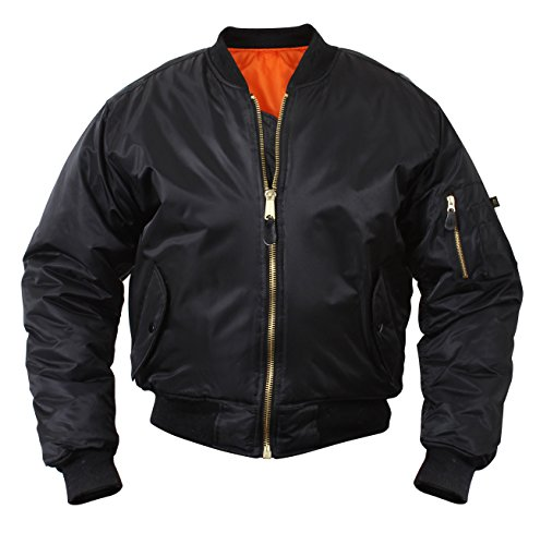 Rothco %Ma-1 Flight Jacket, Black, - Leather Flight Mens Jacket