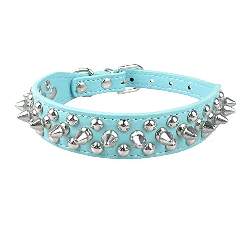 LA2K Cool Spiked Rivet Studded PU Leather Dog Pet Collars for Small Medium Dogs and Cats Puppies 5 Colors (XXS, Blue)