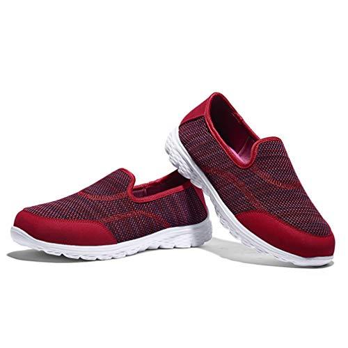 Chaussures sur Femmes et de Sport Marche à de Enfiler Rouge Chaussures légères Hibote des décontractées pour wgT7vaaqxA