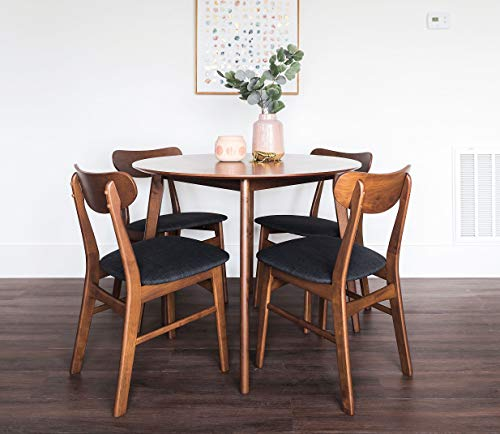 Edloe Finch 5 Piece Round Dining Table Set for 4, Walnut Top